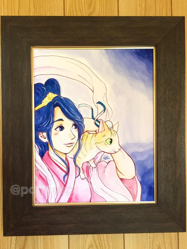 額装水彩原画(イラスト)「織姫と彦星」