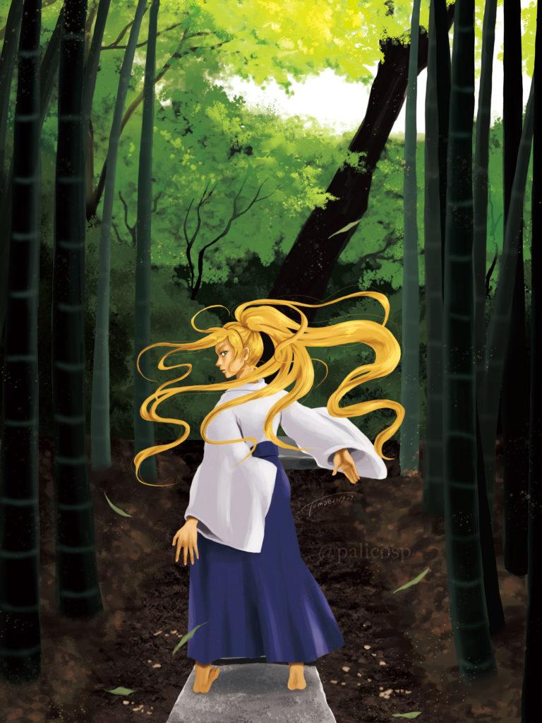 金髪袴女性と竹林のイラスト|CMYK版