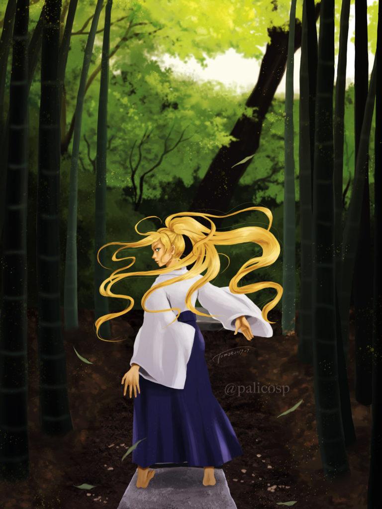 金髪袴女性と竹林のイラスト|RGB版